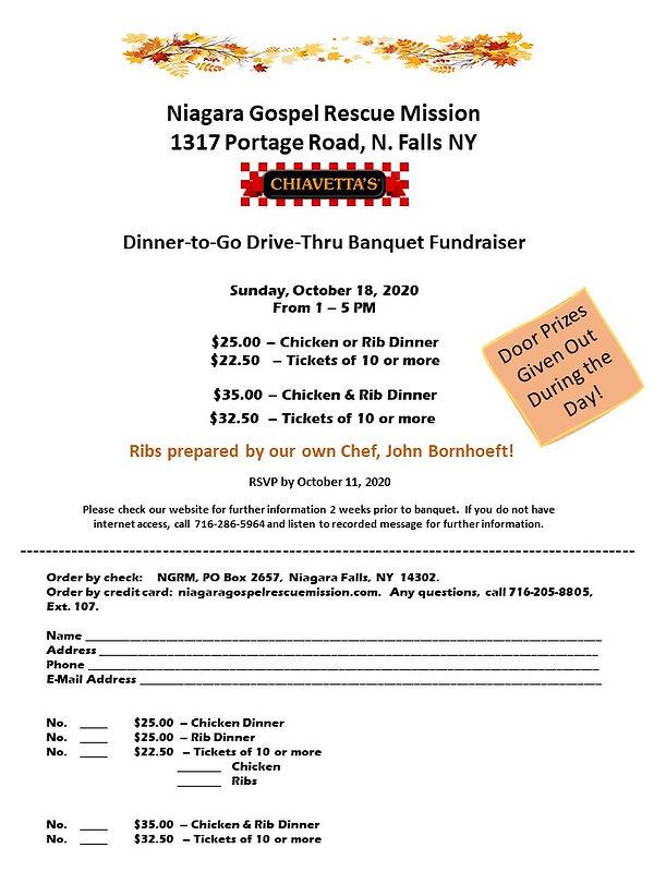 Drive-Thru Banquet Fundraiser - 10-18-20