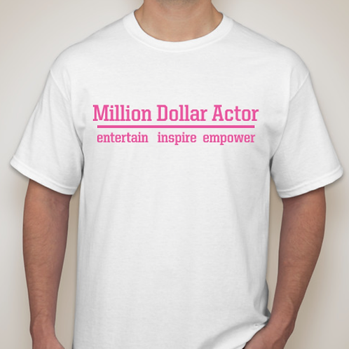 Million Dollar Actor White T in Hot Pink Print