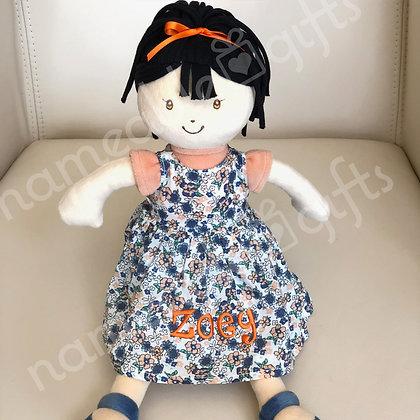 Black Hair - Orange Bow