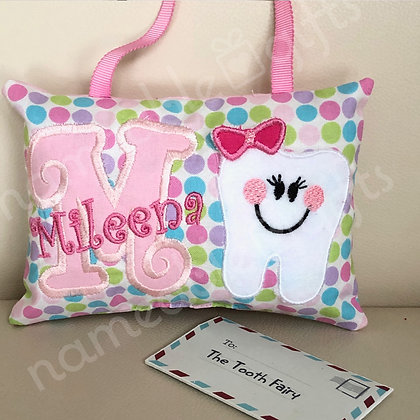 Initial & Tooth with bow Pocket Fairy Pillow