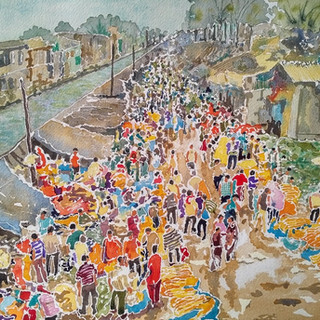 Marigold flower market at Kolkata