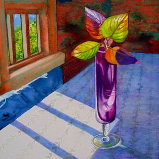Still life with cranberry glass vase