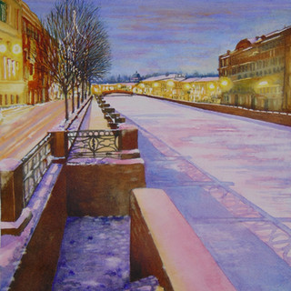 Evening light on the River Neva