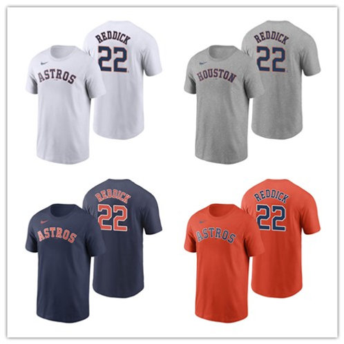 Men Josh Reddick T-Shirt White, Gray, Orange, Navy Blue
