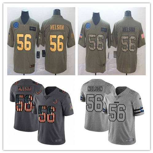 Men Quenton Nelson Limited Salute to Service Olive, Retro Flag, Gridiron