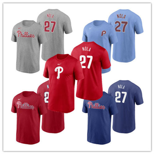 Men Aaron Nola T-Shirt Red, Gray, Blue