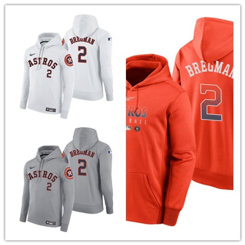 Men Alex Bregman Pullover Hoodie White, Gray, Orange