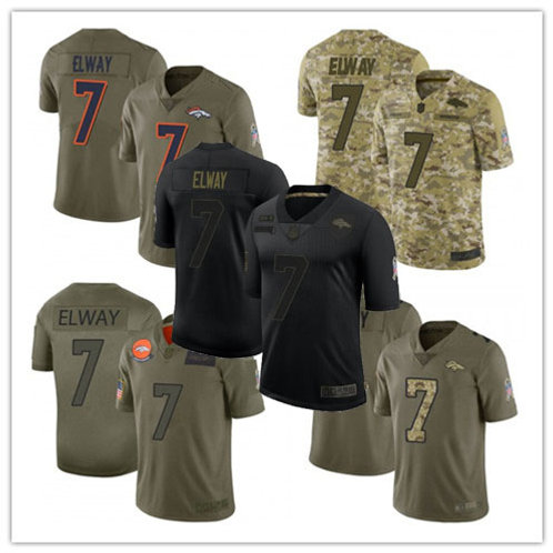 Men John Elway Limited Salute to Service Olive, Camo, Black