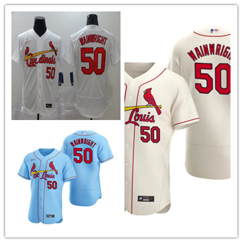 Men Adam Wainwright 2020/21 Authentic White, Cream, Light Blue
