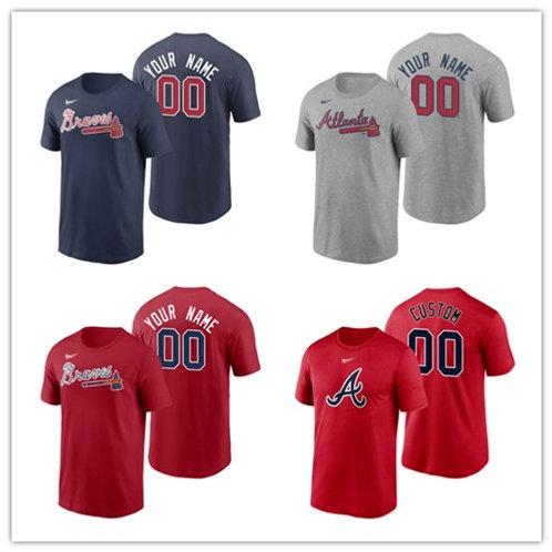 Men Braves Custom Printing T-Shirt Gray, Scarlet, Navy Blue