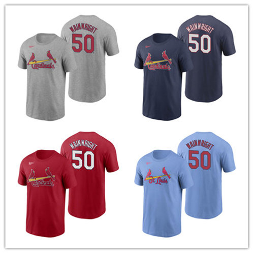 Men Adam Wainwright T-Shirt Gray, Red, Navy Blue, Light Blue