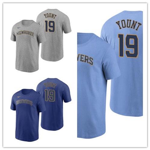 Men Robin Yount T-Shirt Gray, Light Blue, Royal Blue