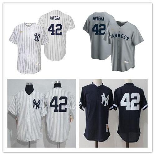 Men Mariano Rivera Cooperstown White, Gray, Navy Blue