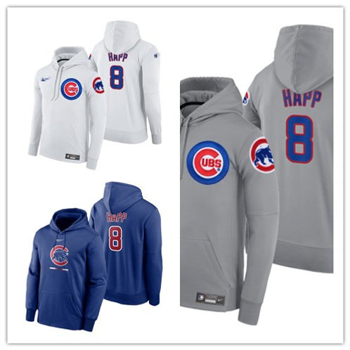 Men Ian Happ Pullover Hoodie White, Gray, Royal Blue