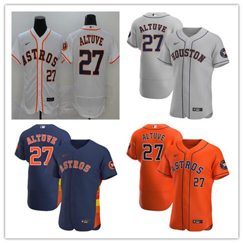Men Jose Altuve 2020/21 Authentic White, Gray, Orange, Navy Blue