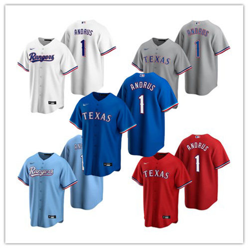 Youth Elvis Andrus 2020/21 Replica White, Gray, Red, Light Blue, Royal Blue
