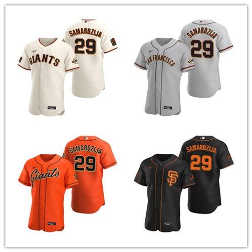 Men Jeff Samardzija 2020/21 Authentic Cream, Gray, Orange, Black