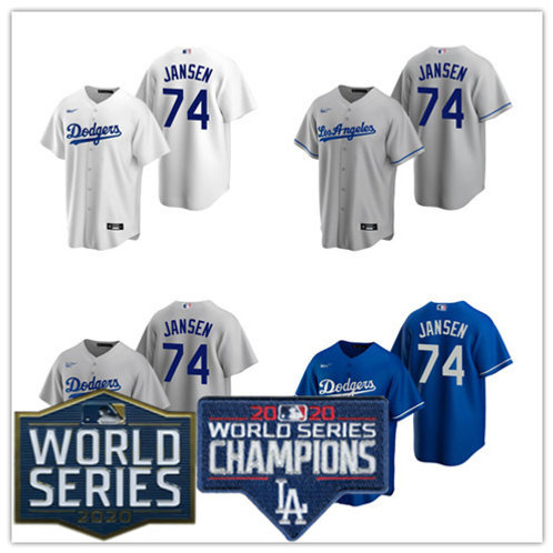 Men Kenley Jansen 2020/21 Replica White, Gray, Royal