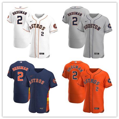 Men Alex Bregman 2020/21 Authentic White, Gray, Orange, Navy Blue