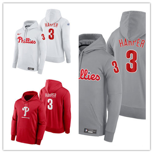 Men Bryce Harper Pullover Hoodie Red, White, Gray