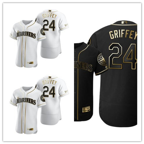 Men Ken Griffey Jr White Golden, Black Golden