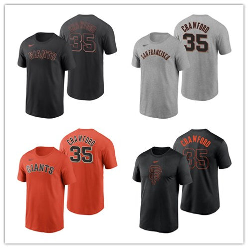 Men Brandon Crawford T-Shirt Gray, Orange, Black