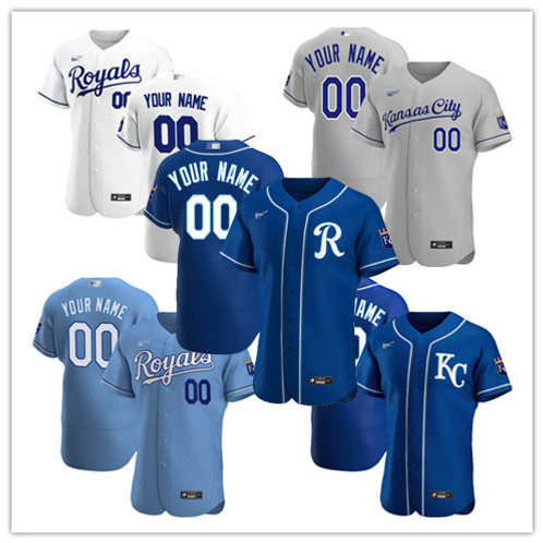 Men Custom 2020/21 Authentic White, Gray, Light Blue, Royal Blue