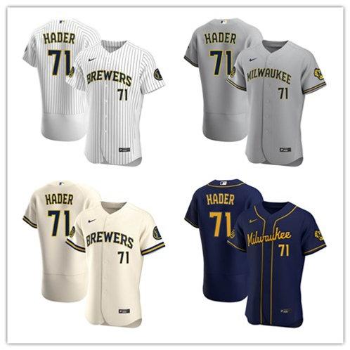 Men Josh Hader 2020/21 Authentic White/Stripe, Cream, Gray, Navy Blue