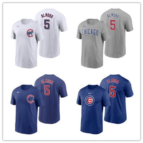 Men Albert Almora Jr T-Shirt White, Gray, Royal Blue