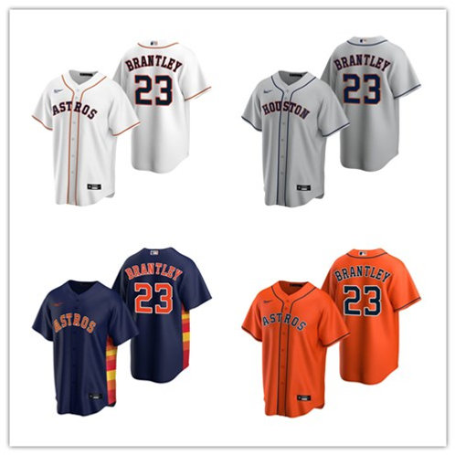 Men Michael Brantley 2020/21 Replica White, Gray, Orange, Navy Blue