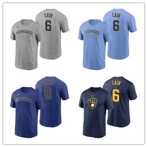 Men Lorenzo Cain T-Shirt Gray, Light Blue, Royal Blue, Navy Blue