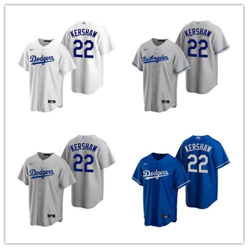 Men Clayton Kershaw 2020/21 Replica White, Gray, Royal