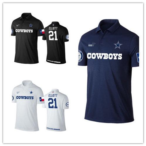 Men Ezekiel Elliott Shirt Polo Navy Blue, White, Black