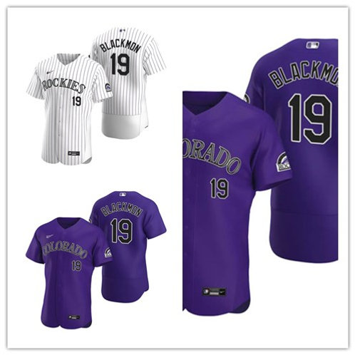 Men Charlie Blackmon 2020/21 Authentic White, Purple