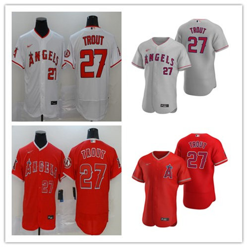 Men Mike Trout 2020/21 Authentic White, Gray, Red