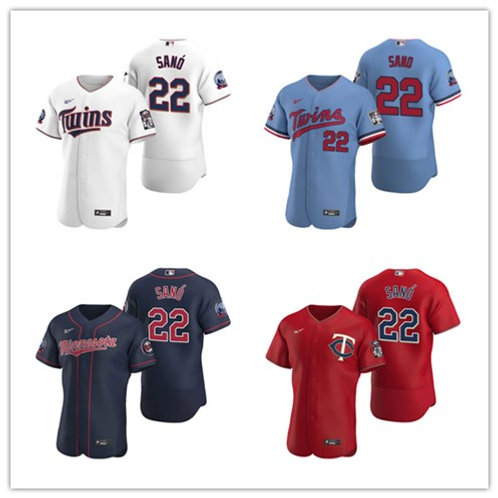 Men Miguel Sano 2020/21 Authentic White, Light Blue, Red, Navy Blue