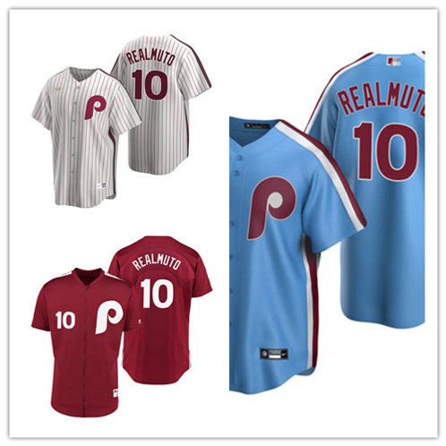 Men J.T. Realmuto Cooperstown White, Light Blue, Red