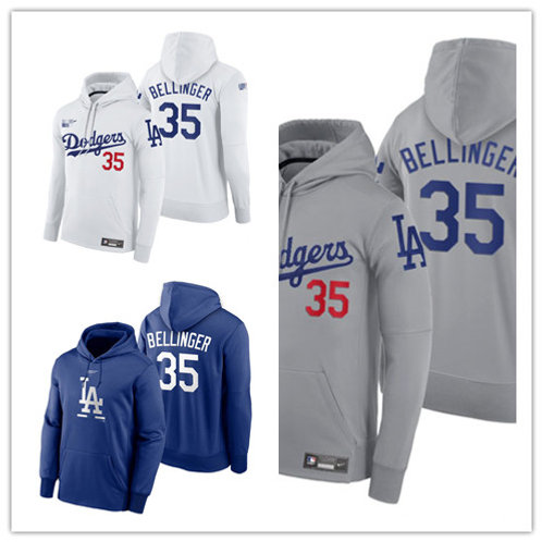 Men Cody Bellinger Pullover Hoodie White, Gray, Royal