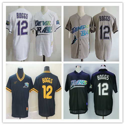 Men Wade Boggs Throwback White, Gray, Navy Blue