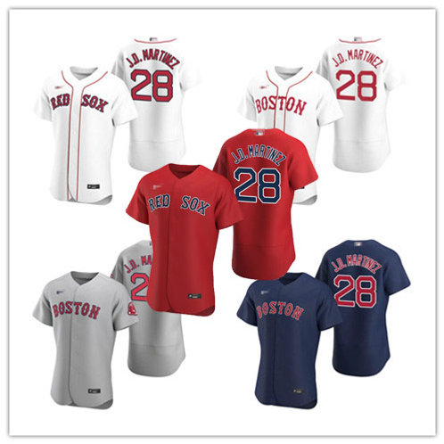 Men J.D. Martinez 2020/21 Authentic White, Gray, Scarlet, Navy Blue