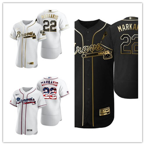 Men Nick Markakis White Golden, Black Golden, Stars/Stripes
