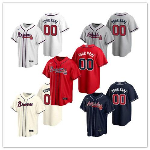 Men Braves Custom 2020/21 Replica White, Gray, Cream, Scarlet, Navy Blue