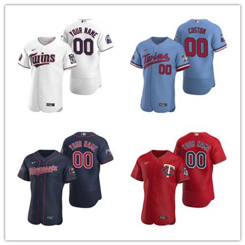 Men Custom 2020/21 Authentic White, Light Blue, Red, Navy Blue