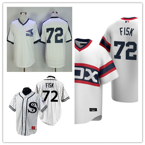 Men Carlton Fisk Throwback White, White Stripe