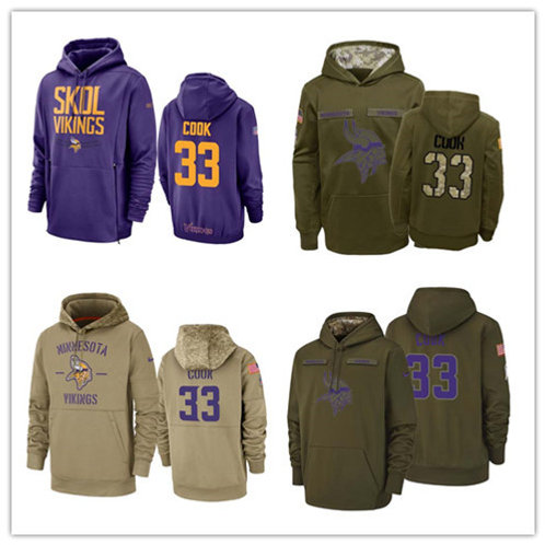 Men Dalvin Cook Salute to Service Hoodie Purple, Olive, Khaki