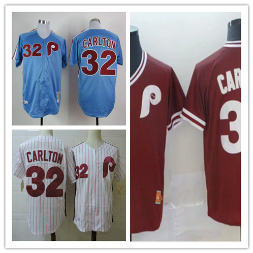 Men Steve Carlton Throwback White, Light Blue, Maroon