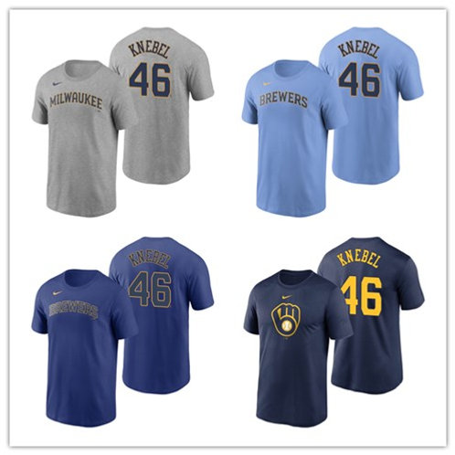 Men Corey Knebel T-Shirt Gray, Light Blue, Royal Blue, Navy Blue