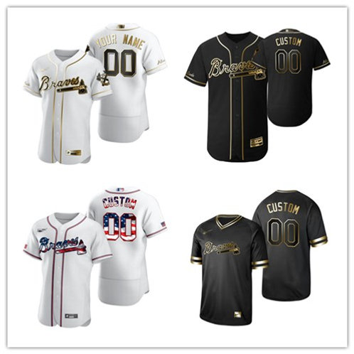 Men Braves Custom White Golden, Black Golden, Stars/Stripes
