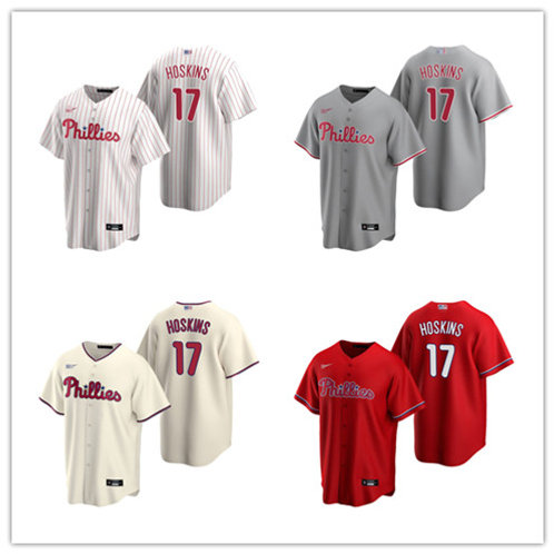 Youth Rhys Hoskins 2020/21 Replica White, Cream, Red, Gray