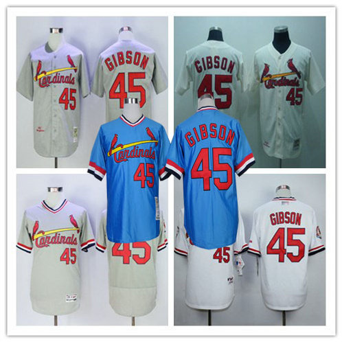 Men Bob Gibson Throwback Gray, Cream, Light Blue, White